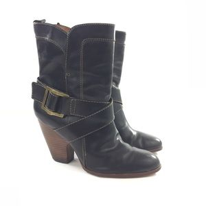 Frye 7.5 Black Strappy Leather Buckle Ankle Boots